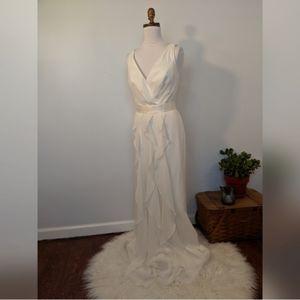 White by Vera Wang V Neck Ruffled Wedding Dress